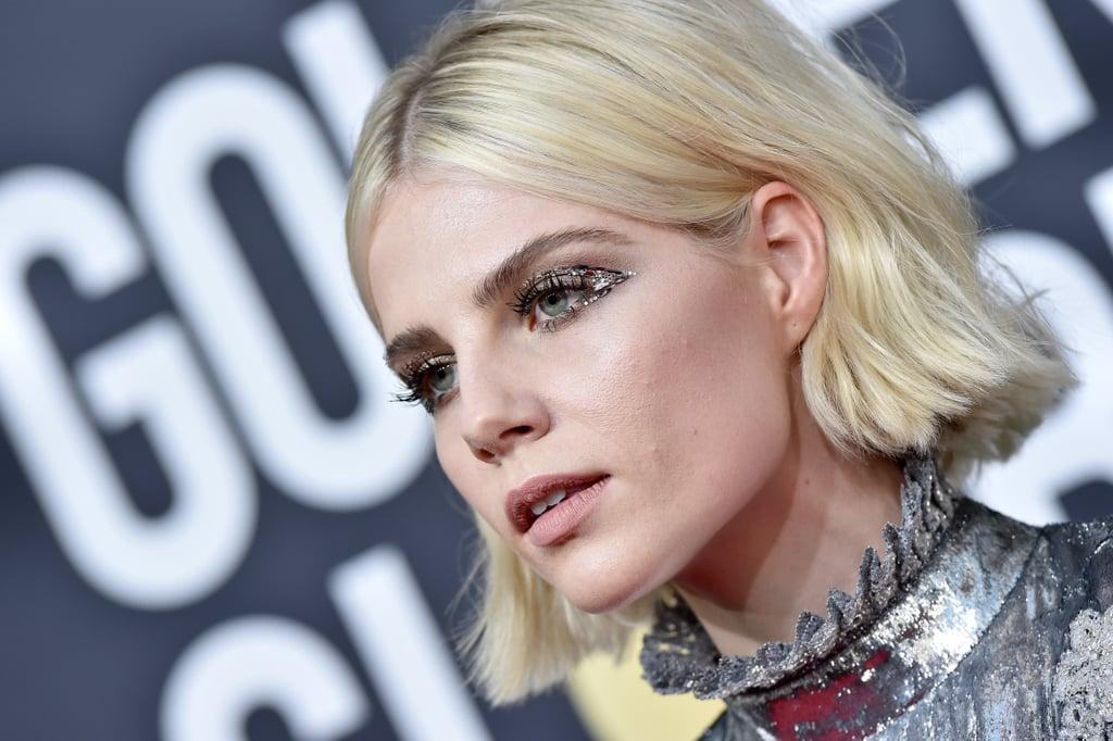 Lucy Boynton's Crystal Embellished Winged Makeup, 2020