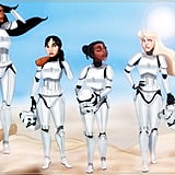 Pocahontas, Mulan, Tiana, and Aurora as Stormtroopers