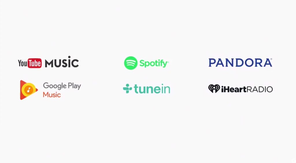The six music services Google Home will work with.