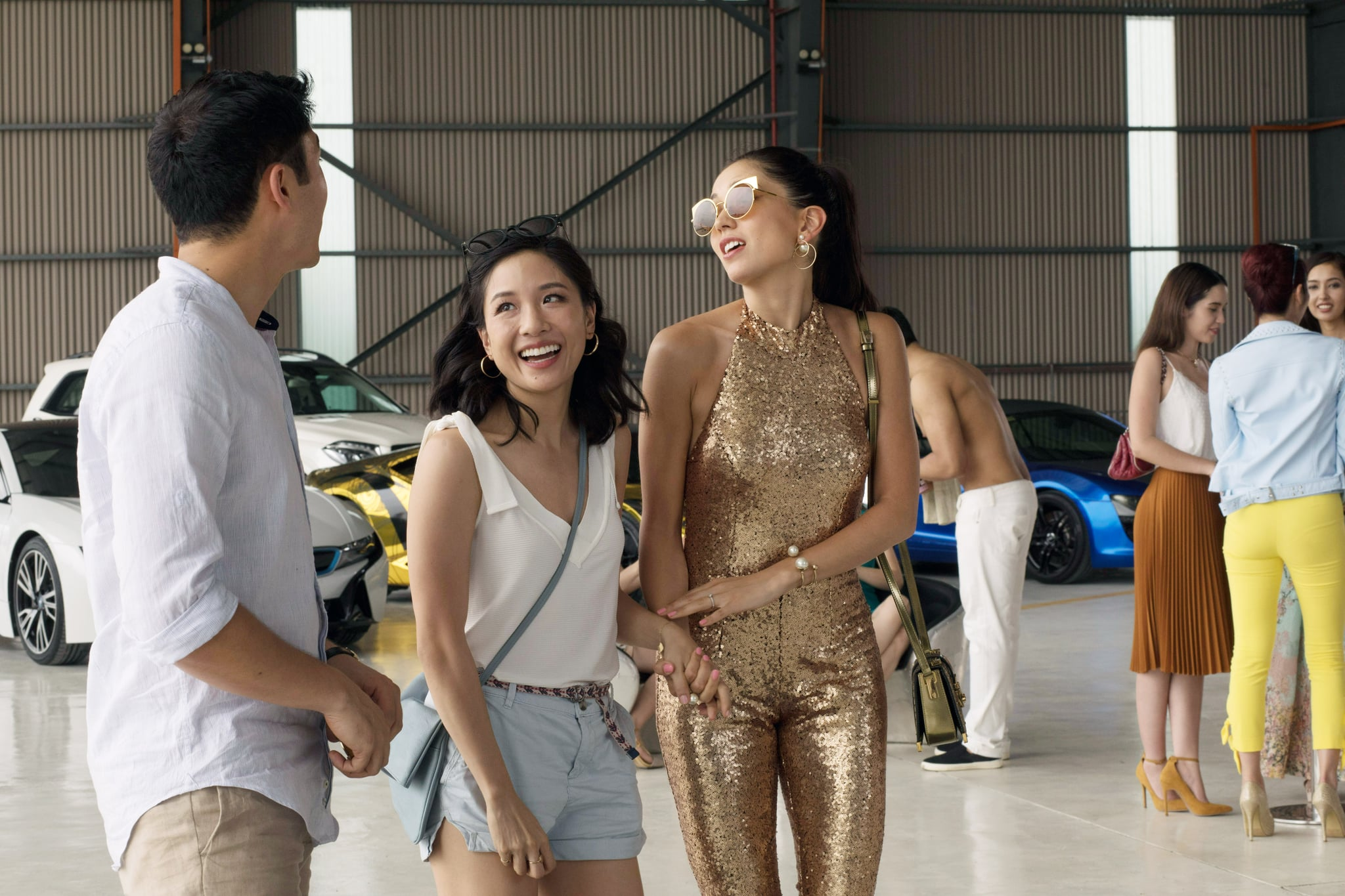 CRAZY RICH ASIANS, l-r: Henry Golding, Constance Wu, Sonoya Mizuno, 2018. ph: Sanja Bucko/ Warner Bros. Pictures/courtesy Everett Collection
