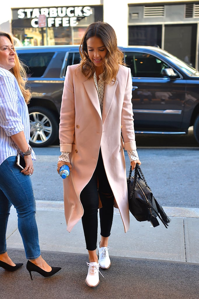 In March, Jessica Alba stepped out wearing a pair of black skinny jeans, which she paired with a pink coat, a Bassike top, and a Rebecca Minkoff bag.
