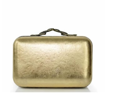 If you want to get the midas touch on your special night, buy House of Harlow's gold Marley clutch ($195).