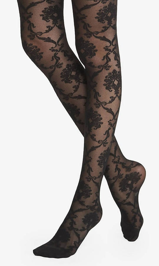 Express Baroque Lace Sheer Full Tights