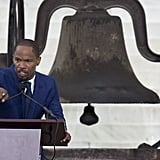 Jamie Foxx spoke during the commemoration event in DC.