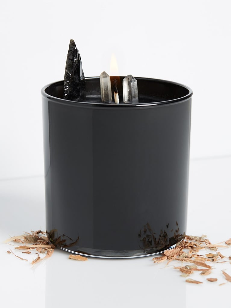 Leather & Driftwood Soy Quartz Crystal Candle ($52)