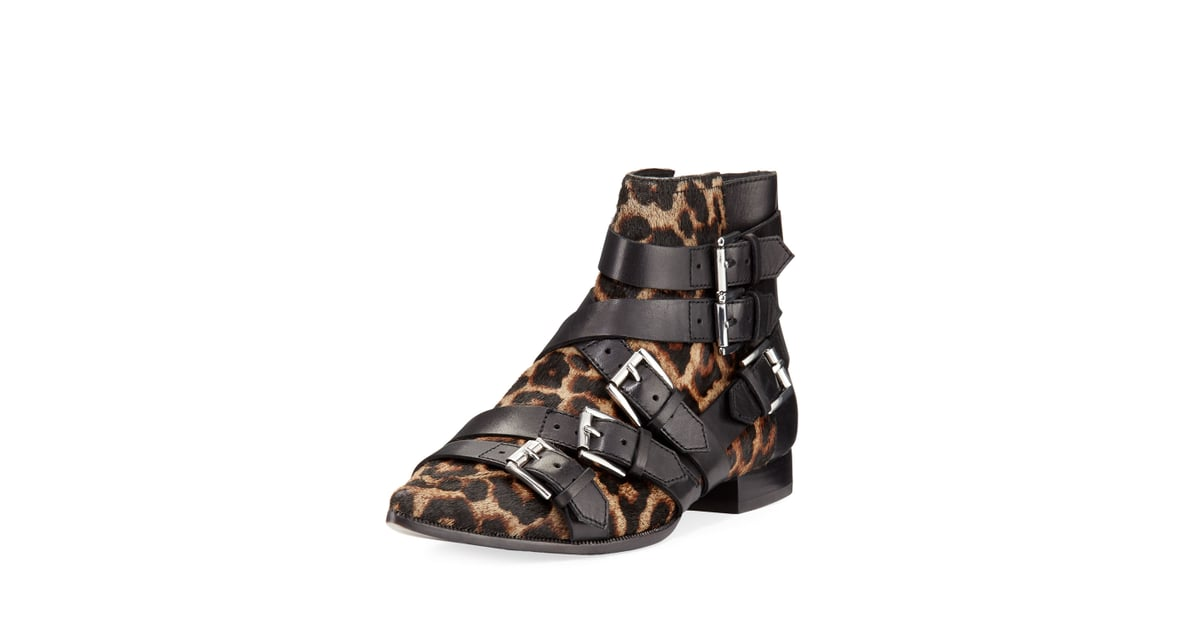 0196f39d7b50 Ash Blast Leopard-Print Calf Hair Buckle Boot