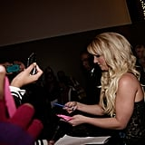 Britney Spears happily signed autographs.