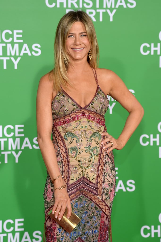 All eyes were on Jennifer Aniston when she hit the red carpet at the LA premiere of Office Christmas Party on Wednesday evening. The actress stunned in a gorgeous floor-length Roberto Cavalli dress, and was all about the fans as she smiled and waved to them before making her way inside the Regency Village Theater. Also on hand for the event were Jennifer's co-star Olivia Munn, Katy Perry, and Jimmy Kimmel, who was accompanied by his pregnant wife, Molly McNearney. Jennifer's latest appearance comes just a day after she stepped out at the film's NYC premiere with Olivia and Jason Bateman.        Related:                                                                                                           Jennifer Aniston Making Snow Angels in a Sumo Suit Is the Pick-Me-Up You Need Today