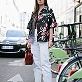With a Bold-Print Shirt and Strappy Sandals