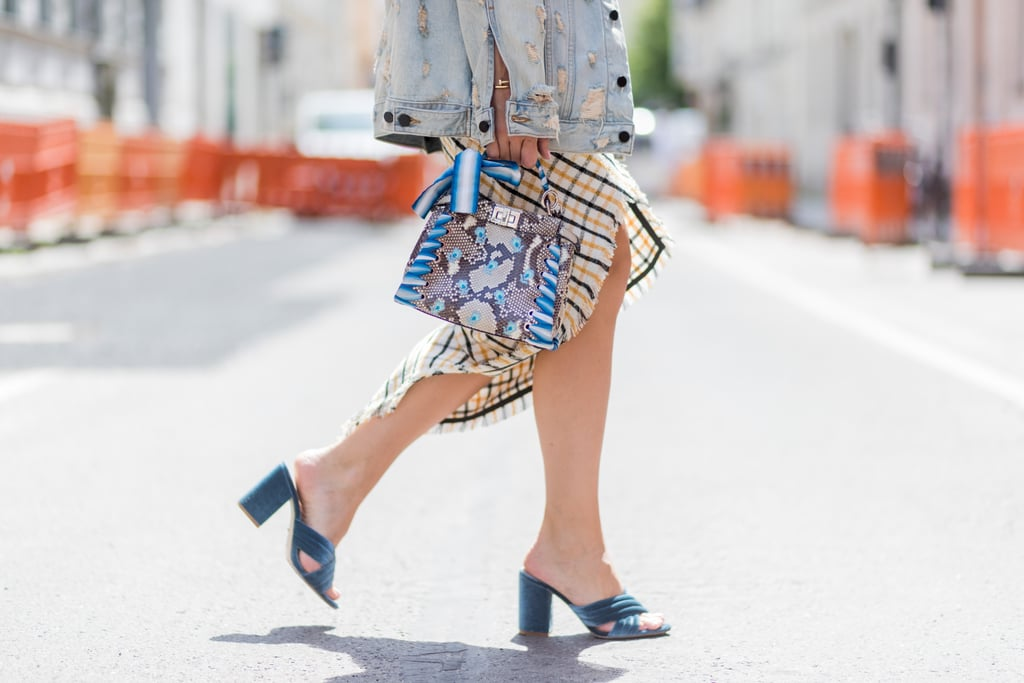 Style a Pair of Velvet Mules With a Denim Jacket and a Midi Dress
