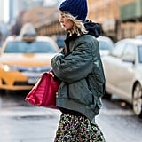 Go All-Out Sporty With Your Beanie and a Bomber Jacket