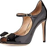 Salvatore Ferragamo Mood Patent Mary Jane Bow Pump, Nero ($775)