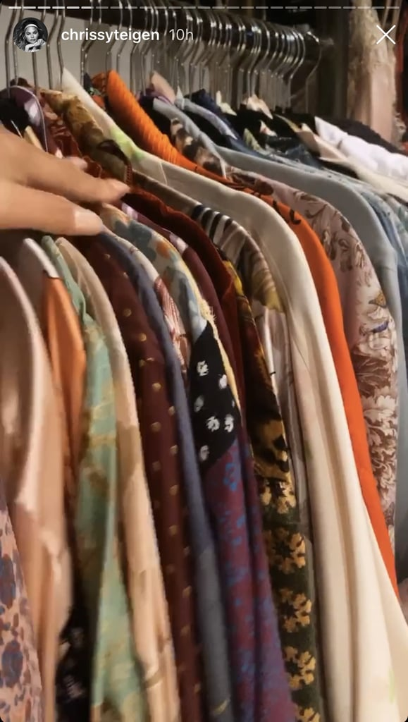 Chrissy has two racks of silk robes in her bedroom.