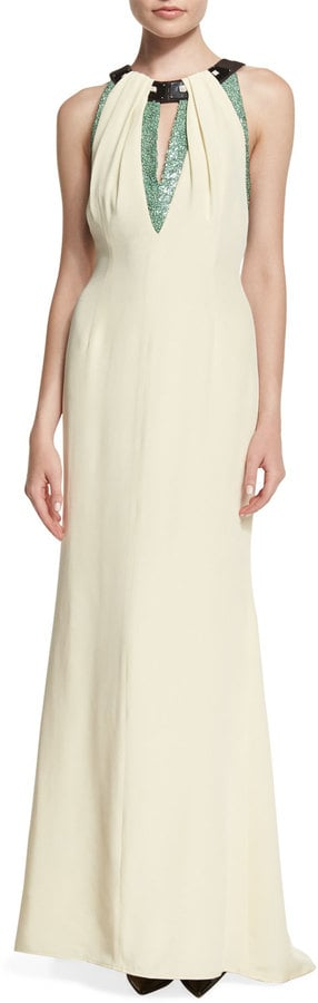 Carolina Herrera Sleeveless Embellished-Neckline Gown ($4,990)