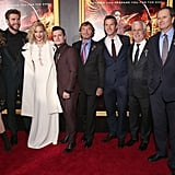 Pictured: Josh Hutcherson, Liam Hemsworth, Jennifer Lawrence, Michael Burns, Nina Jacobson, and Rob Friedman