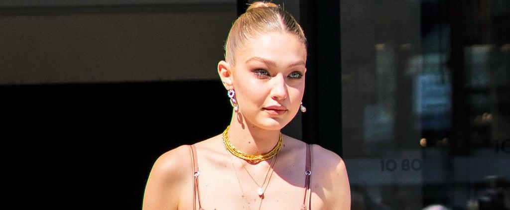 Gigi Hadid Michael Kors Dress and Seashell Bag 2019