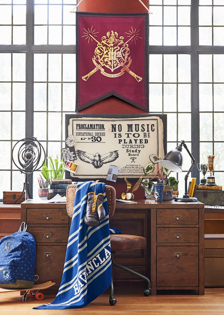 Hogwarts House Throw Blanket ($69) and Hogwarts Crest Scroll ($49)