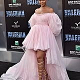Rihanna arrived at the premiere of Valerian and the City of a Thousand Planets in a pink Giambattista Valli dress in July 2017.