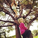 Jennie Garth's girls had some fun in the trees before heading to school. Source: Instagram user jenniegarth