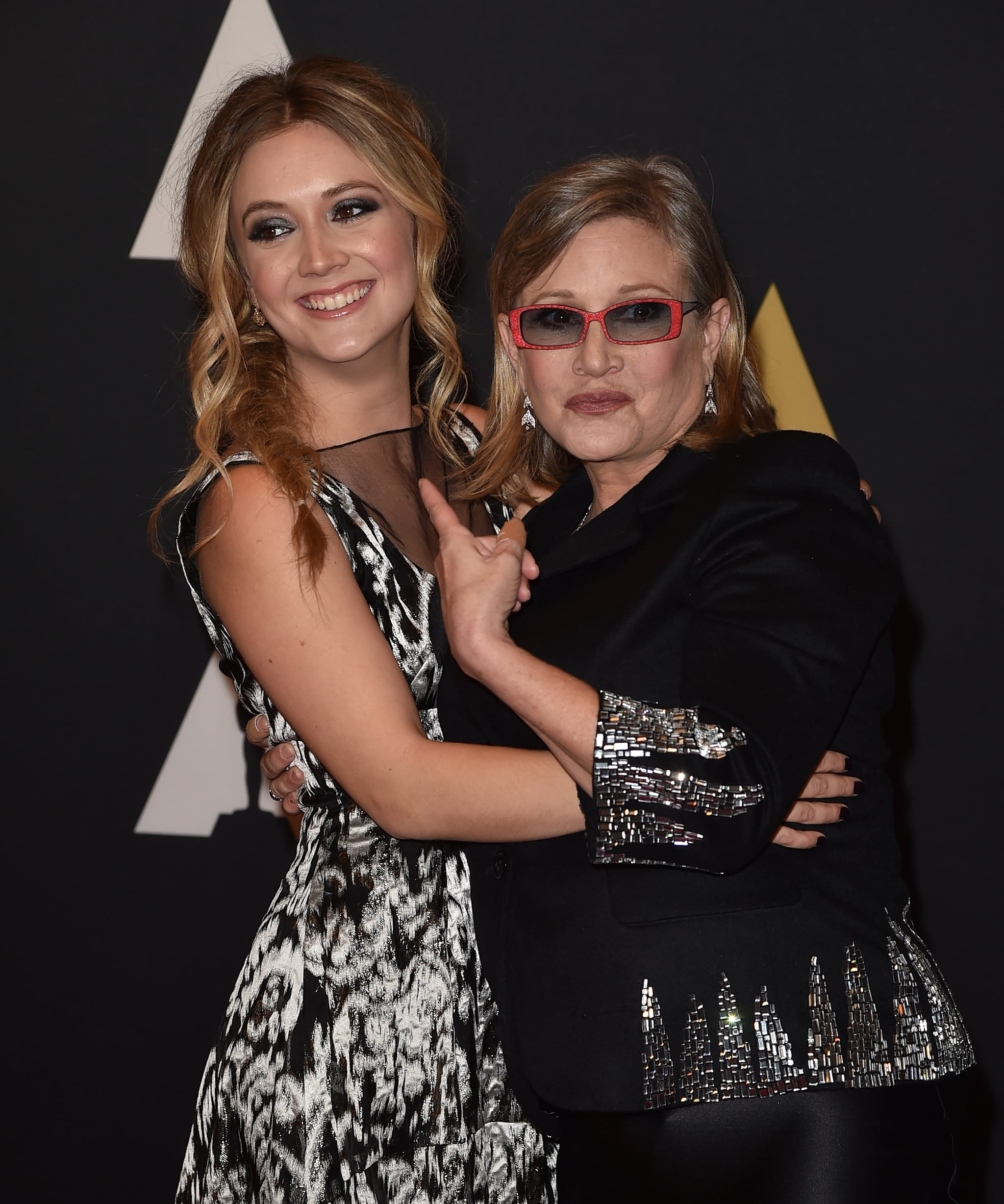 HOLLYWOOD, CA - NOVEMBER 14:  Actresses Carrie Fisher (L) and Billie Catherine Lourd attend the Academy of Motion Picture Arts and Sciences' 7th annual Governors Awards at The Ray Dolby Ballroom at Hollywood & Highland Centre on November 14, 2015 in Hollywood, California.  (Photo by Kevin Winter/Getty Images)
