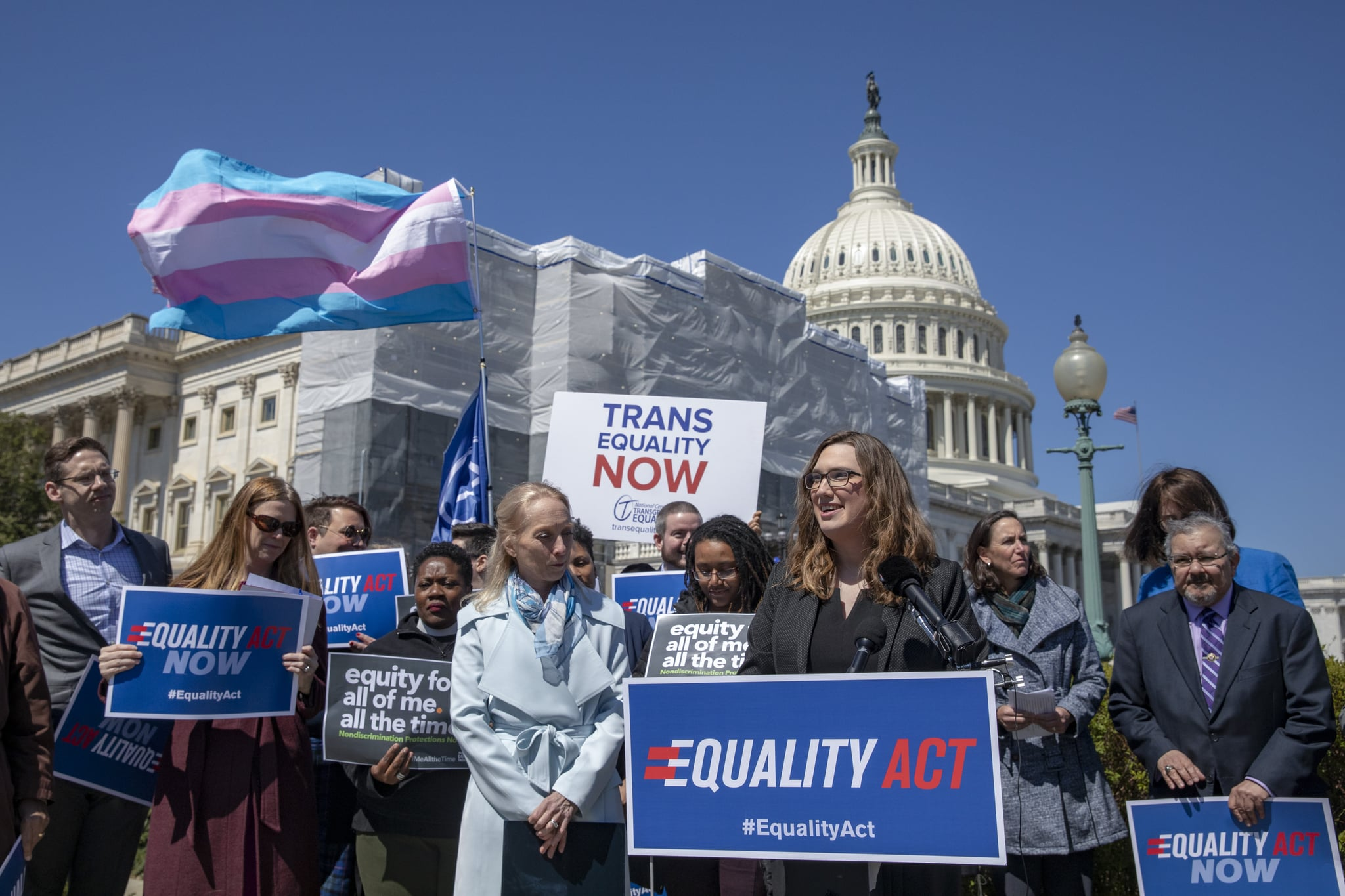 WASHINGTON, DC - APRIL 01: Sarah McBride, National Press secretary of Human Rights Collation speaks on introduction of the Equality Act, a comprehensive LGBTQ non-discrimination bill at the US Capitol on April 01, 2019 in Washington, DC. Ahead of International Transgender Day of Visibility, a bipartisan majority of the U.S. House on voted in favor of a resolution opposing the Trump-Pence discriminatory ban on transgender troops. (Photo by Tasos Katopodis/Getty Images)
