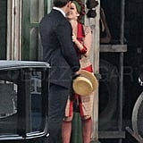 Isla Fisher as Myrtle Wilson and Joel Edgerton as Tom Buchanan on the set of The Great Gatsby.