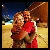 Kristen Bell and Percy Daggs III hugged it out when they reunited to play onscreen BFFs Veronica and Wallace. Source: Instagram user theveronicamarsmovie