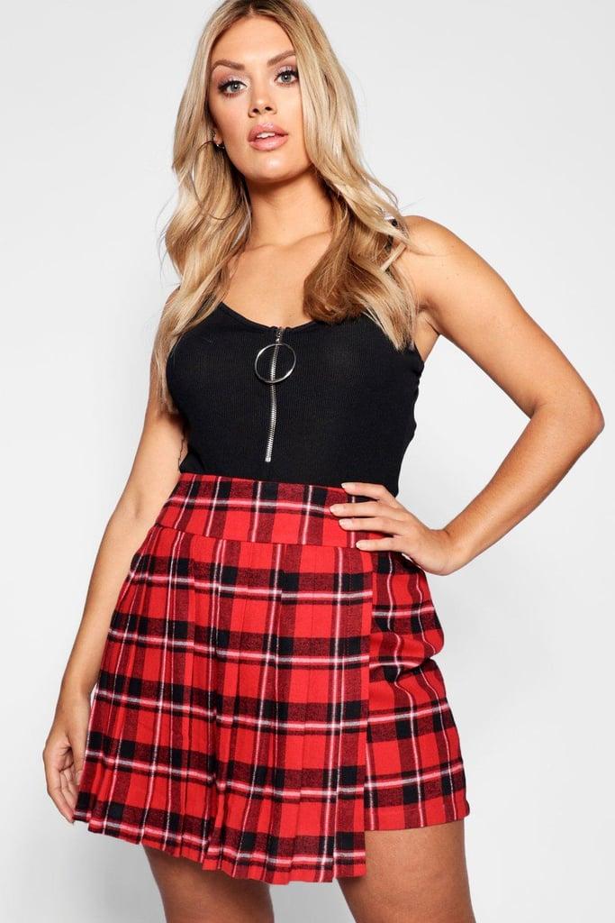 Boohoo Checked Pleated Mini Skirt