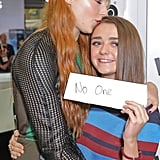 Sophie gave her costar a sweet kiss on the head at a fan signing for Game of Thrones during Comic-Con in July 2015.