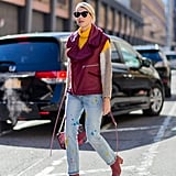 If You Have a Colorblock Sweater, Pair It With a Puffy Vest