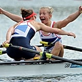Great Britain's Katherine Copeland and Sophie Hosking were joyful after winning gold in the lightweight women's double sculls final.