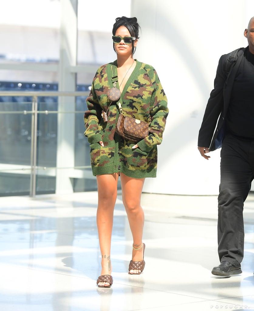Rihanna Wearing Bottega Veneta Sandals and a Miu Miu Cardigan at the Airport