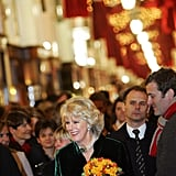 Camilla, Duchess of Cornwall, talked to people while visiting Burlington Arcade, where she switched on the Christmas lights in London in 2005.