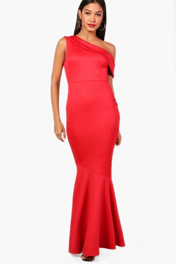 077617ab1d152 Boohoo Keelia One Shoulder Fishtail Maxi Dress | Bella Hadid Red One ...