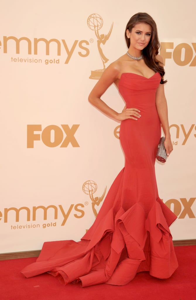 Nina Dobrev dazzled in a red gown at the 2011 award show.