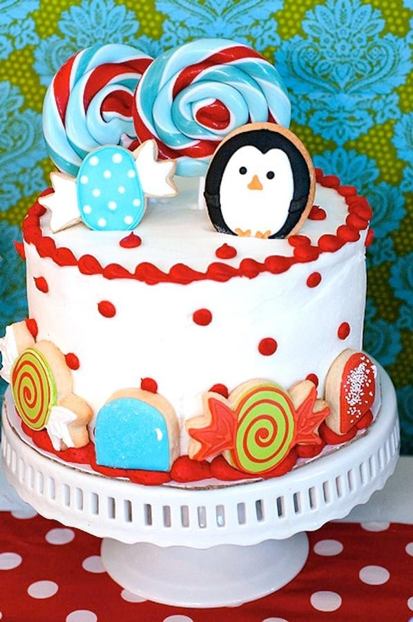 Winter Candy Land Birthday Cake