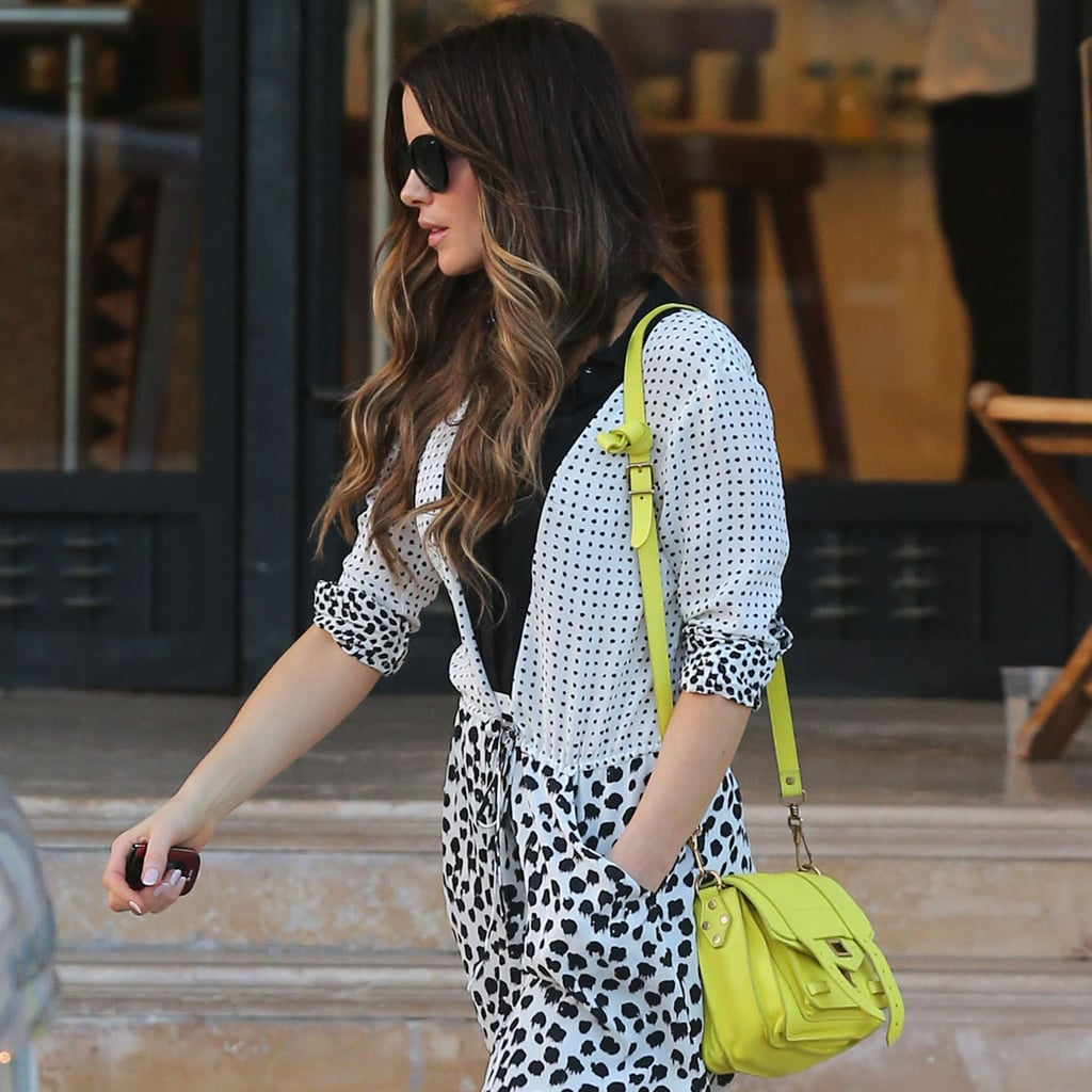 Kate Beckinsale Carrying Neon Yellow Bag