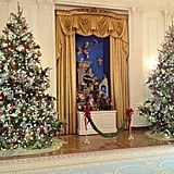 The nativity scene, or creche, in the East Room has been on display during the holidays for hundreds of years.