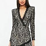 Missguided Black Lace Shoulder Pad Dress