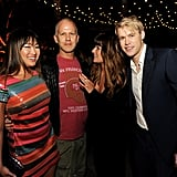 Jenna Ushkowitz, Ryan Murphy, Lea Michele, and Chord overstreet leaned in for a photo.