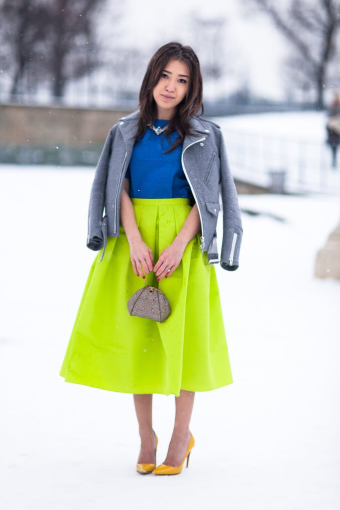 Maybe she was a little cold, but this styler didn't short on the wow factor in a bright full skirt and heels. Source: Adam Katz Sinding