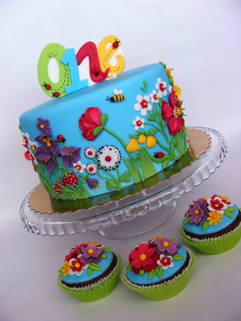 summer flowers cake - Garden Design Birthday Cake