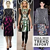 We've rounded up all the best Fall '12 trends to emerge from London Fashion Week. Lace embellishments, bold digital prints, and lots of pink — read up on what you'll want to be wearing next Fall.