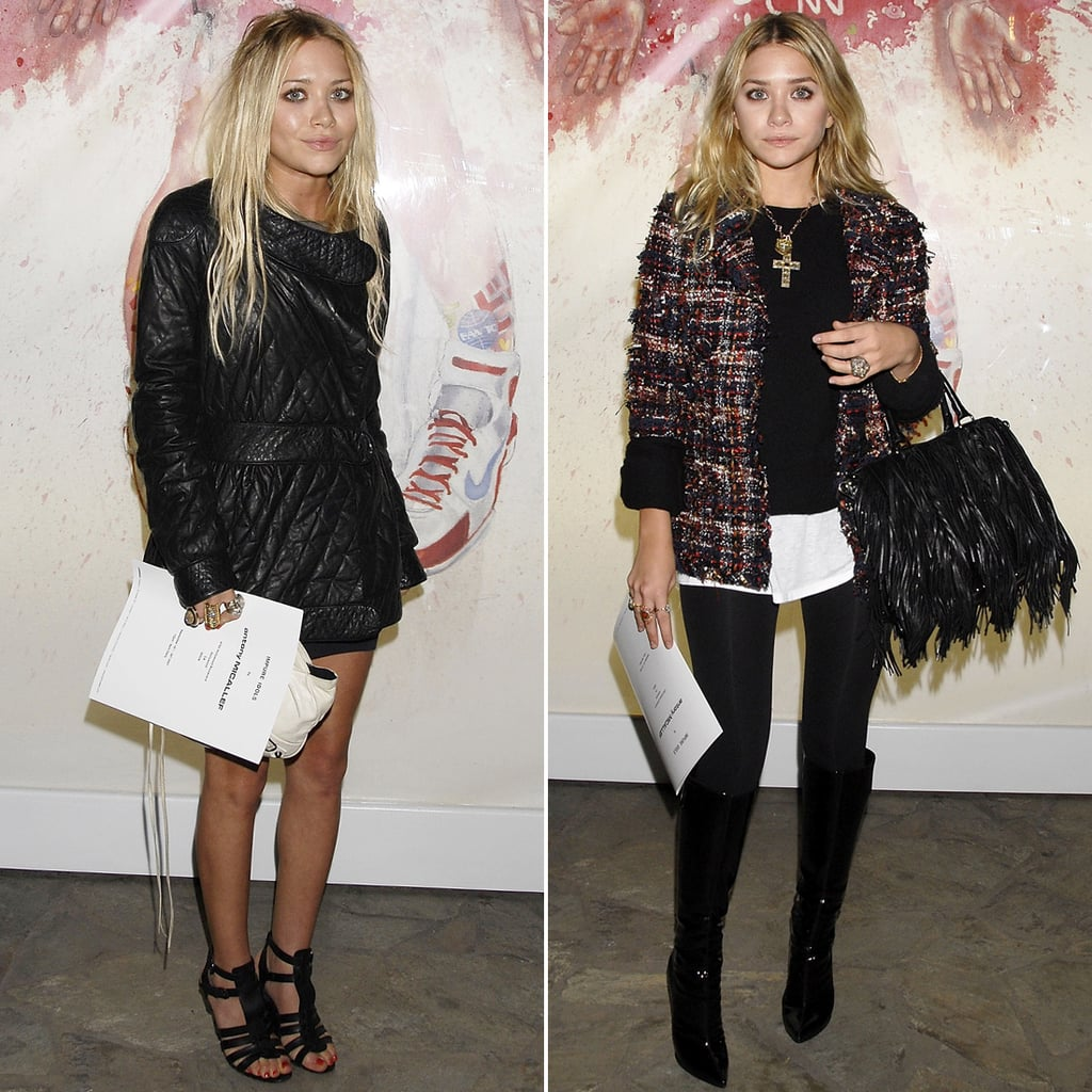 Twinning combo: Each girl put her own twist on cute yet casual styling for Antony Micallef's debut LA Show, Impure Idols, in September 2007.  Mary-Kate worked a quilted jacket over her black basics, then completed her edgy ensemble with caged sandals and a bevy of statement rings. Ashley layered up in a black sweater, multicolored tweed jacket, sheen black leggings, and patent Christian Louboutin boots.