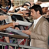 Javier Bardem happily signed autographs in Hollywood.