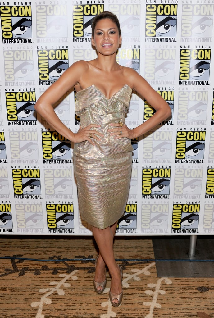 Eva Mendes's golden Vivienne Westwood frock is fanciful fun.