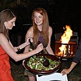 Everyone helped serve the food. My sister and her best friend had salad duty. Isn't the giant salad bowl to die for?