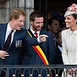 They goofed off together during a reception at the Grand Place in Mons, Belgium, in August 2014.