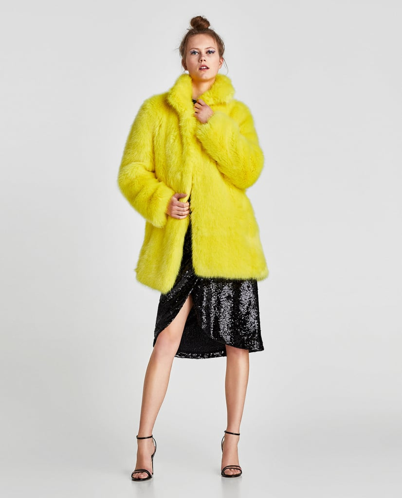 298a04bd5af Colored Faux Fur Coat Best Zara Coats For Winter Popsugar