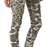 We love the strong yet subtle watercolor print on these jeans. Alice + Olivia Print Skinny Jeans ($198)